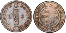 World Coins - Republic of Haiti. CU 2 Centimes AN 43 (1846). VF.