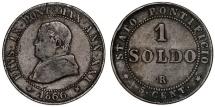 World Coins - Italy. Papal State. Pope Pius IX (1846-1878). Cu Soldo 1867R (year XXI). aVF