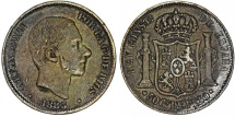 World Coins - Phillipines as Spanish Colony. Alfonso XII. AR 50 Centavo 1885. Nice VF