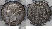 World Coins - Great Britain. Queen Victoria (1837-1901) AR Crown 1845. NGC AU50, Toned , RARE!