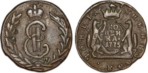 World Coins - Imperial Russia. Siberia. Catherina II (1764-1796) Copper 1 Kopeck 1775. aXF.
