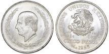 World Coins - Republic of Mexico. AR 5 Pesos 1953 - Hidalgo. Choice UNC