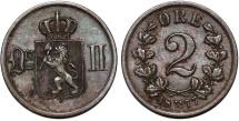 World Coins - Norway. Sweden Rule. Oscar II (1872-1907). AE 2 Ore 1877. XF