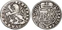 World Coins - Belgium. Liege. Joseph Theodore of Bavaria. AR 1 Escalin 1752. VF.