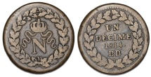 World Coins - France. Strasbourg Provisional Coinage. AE 1 Decime 1814BB. VF+