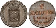 World Coins - Austria Empire. Franz Joseph I. CU 2 Kreuzer 1848A. Choice VF