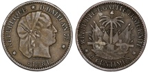 World Coins - Republic of Haiti , SINCE 1863. AE 2 Cents AN78 (1881). XF