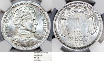 World Coins - Chile. Republic. Aluminium 1 Peso 1954. NGC MS62