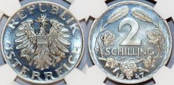 World Coins - Austria. Trade Coinage of 2 Shillings 1947. NGC PF64!