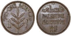 World Coins - Palestine. British Administration. AE 1 Mil 1943. AU+