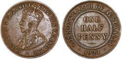World Coins - Australia under Great Britain. King George V. AE Half Penny 1921. Choice VF