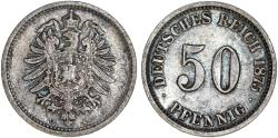World Coins - Germany. Imperial Period. Prussia. Wihelm I. AR 50 Pfennig 1875 C. XF