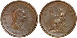 World Coins - Great Britain. George III. CU Half Penny 1807. XF