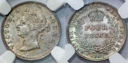 World Coins - British Guiana. Empress Victoria. AR 4 Pence 1891. NGC MS63, nice and rare in this grade
