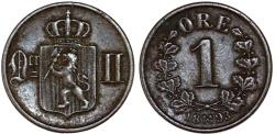 World Coins - Norway. King of Sweden Oscar II. AE 1 Ore 1893. Good VF