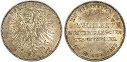 "World Coins - Germany. Free city of Frankfurt. Free City ""Commemorative"" Taler 1859. Good AU, nice luster"