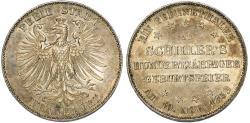 "World Coins - Germany. Free city of Frankfurt. Free City ""Commemorative"" Taler 1859. Good AU, nice luster"