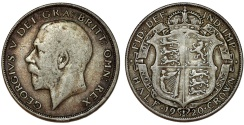 World Coins - Great Britain. king George V. AR Half Crown 1920. Toned Choice VF