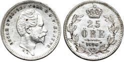 World Coins - Sweden. Kingdom. Oscar I. AR 25 Ore 1856. Choice AU