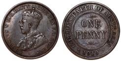World Coins - Australia. Commonwealth. George V. CU Penny 1919. Choice VF
