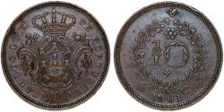 World Coins - Portugal. Islands of Azores. AE 10 Reis 1901. Choice XF+
