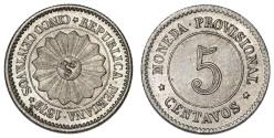 World Coins - Peru. CU-NI 5 Centavos 1879. UNC