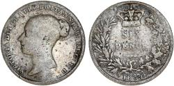 World Coins - Great Britain. Victoria. AR 6 Pence 1853. VG