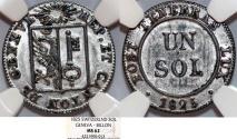 World Coins - Swiss Cantons. City of Geneva. Bi 1 Sol 1825. NGC MS62, NICE!