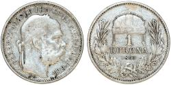 World Coins - Hungary. Franz Joseph I. AR 1 Korona 1893 KB. VF