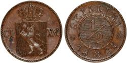 World Coins - Norway under Swedish Rule. Carl XV, 1859-1872. CU 1/2 Skilling 1867. About XF