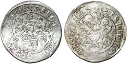 World Coins - GERMANY. Saxony. Friedrich III, Johann and Georg (1507-1525). Silver Zinsgroschen ND. aXF