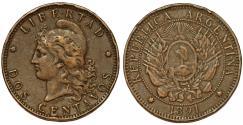World Coins - Argentina. Republic. AE 2 Centavos 1891. VF
