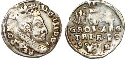 World Coins - Poland. Rzeczypospolita. Bromberg. king Sigismund III. AR 3 Gross 1599-B. About VF.
