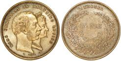 World Coins - Denmark. Christian IX (1863-1907). Silver 2 Kroners 1892. 50 years of Marriage. XF+/AU, toned