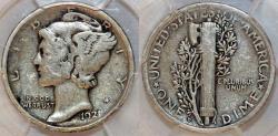 Us Coins - USA. Mercury Dime 1921 D. PCGS F12!