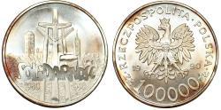 "World Coins - Poland. III Republic (1989-present). AR Commemorative 100,000 Zl. ""SOLIDARITY"" 1990. Choice BU"