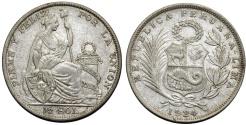 World Coins - Peru. Republic. AR 1/2 Sol 1924. aXF