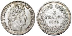World Coins - France. king Louis Philippe (1830-1848). Silver 5 Francs 1835 A.  Good VF, toned.