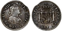 World Coins - Mexico as Spanish Colony. Carlos IV (1788-1808 ). AR 1/2 Real 1798 Mo-FM. Toned XF