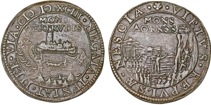 World Coins - Spanish Netherlands. Siege of Gertrudenberg. Cu Jeton 1593. About Very fine.