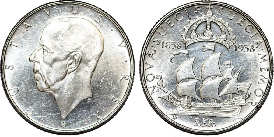 World Coins - Sweden. Gustav V. Commemorative AR 2 Kronor 1938. AU/UNC