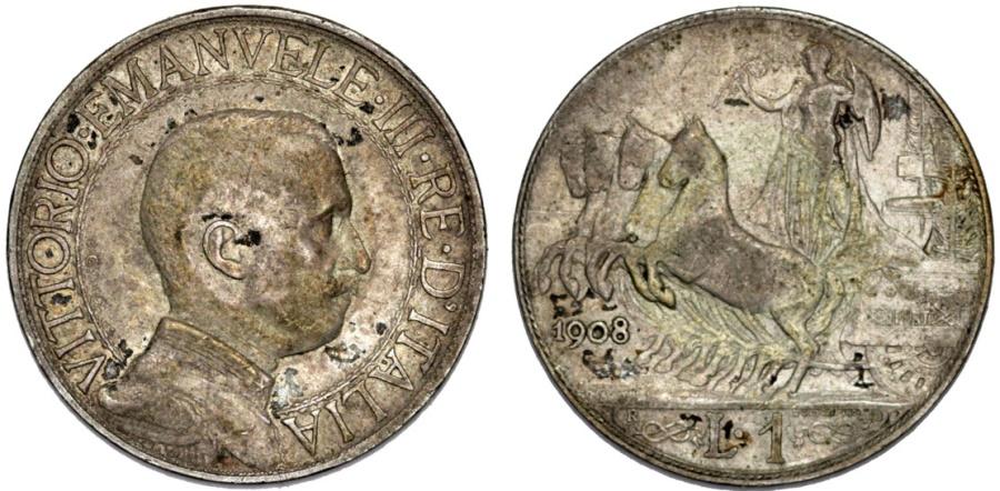 World Coins - Italy. Vittorio Emanuele III. AR 1 Lira 1908. aVF, rare date