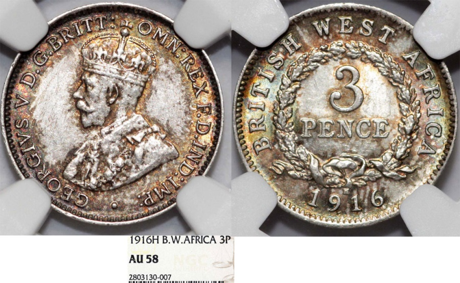 World Coins - British West Africa. AR 3 Pence 1916 H. NGC AU58, nicely toned