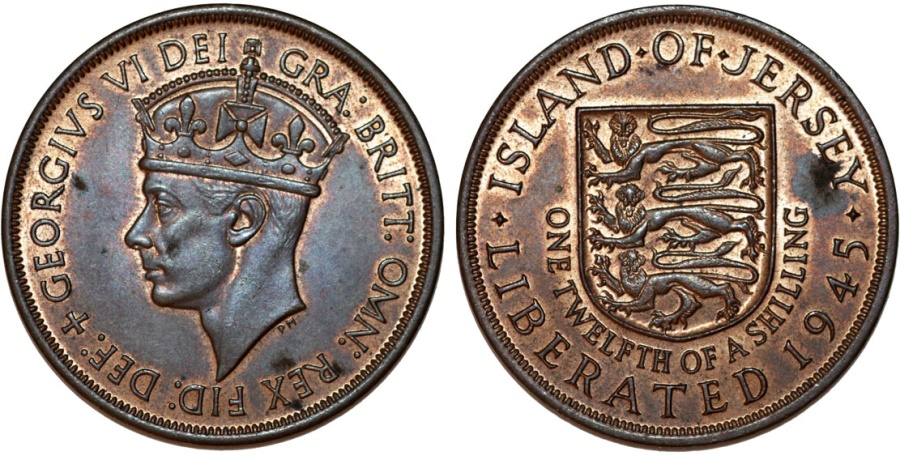 Great Britain rule: Jersey  King George VI  Copper 1 Penny (1/12 Shilling)  1945  Choice AU/UNC