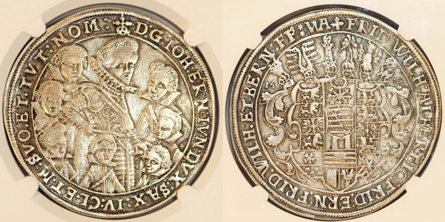 World Coins - Germany. Saxony-Old-Weimar. Johann Ernst I and 7 Brothers (1605-1626) Silver Thaler 1618 WA. NGC VF35