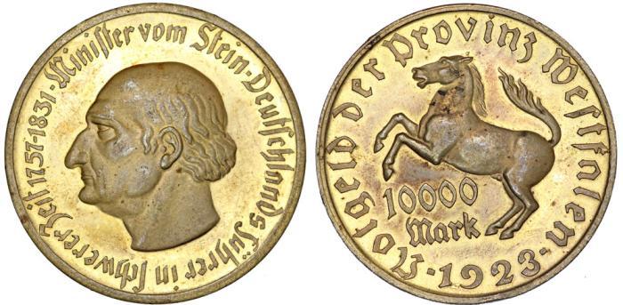 World Coins - Germany, Westfalia of Weimar Republic. Infationary MONEY! 10000 Mark 1923. AU