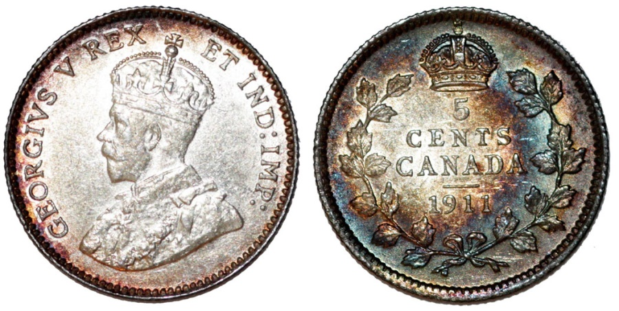 World Coins - Canada. Silver 5 Cents 1911.  UNC , toned