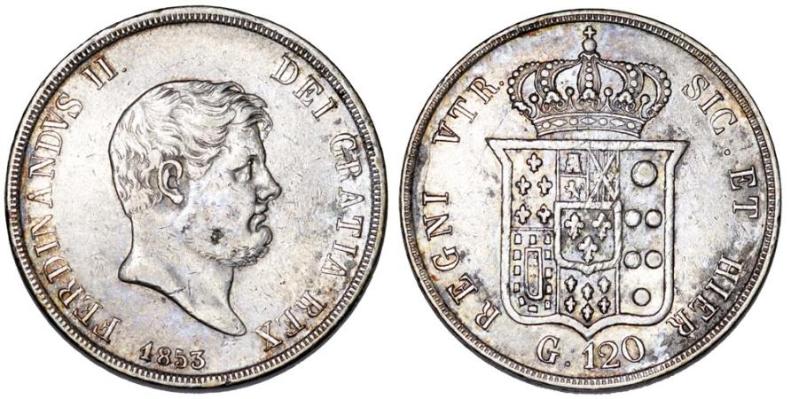World Coins - Italy. Naples & Sicily. Francesco II (1830-1859). Silver 120 Grana 1853. Nice aXF