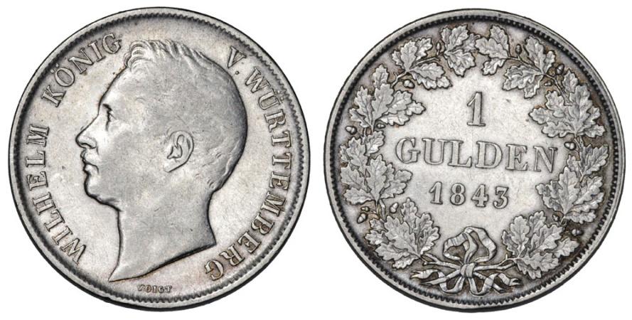 World Coins - Germany. Wurtemberg. Leopold I. AR 1 Gulden 1843. VF/ XF