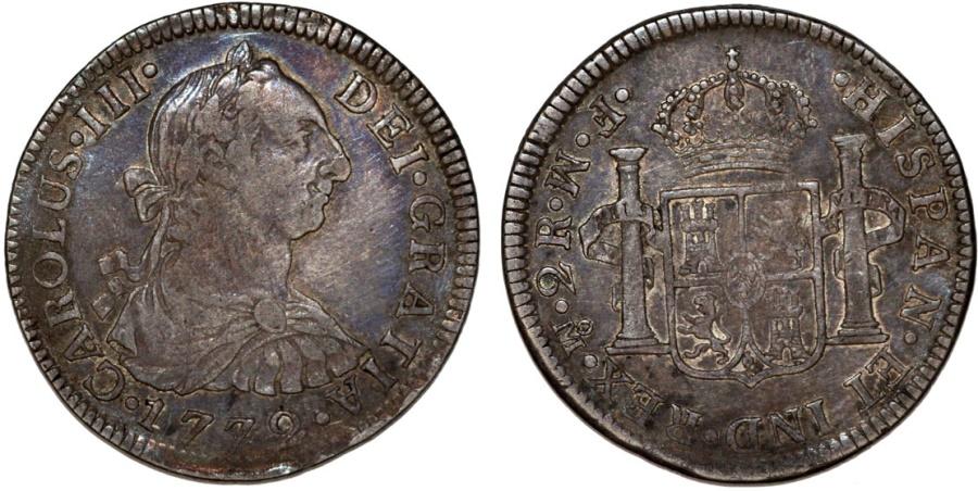 World Coins - Mexico as Spanish Colony. Charles III. AR 2 Reales 1779 Mo FM. Nice VF